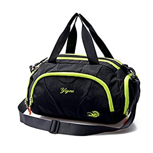 Hit Color Swim Bag Duffle Bag Travel Sports Gym Bag Waterproof with Dry Wet Area Shoes Compartment for Women Men (GREEN BLACK)