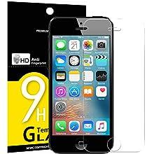 NEW'C 3 Unidades, Protector de Pantalla para iPhone 5, iPhone 5S, iPhone 5C, Vidrio Cristal Templado