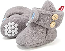 Newborn Baby Soft Fleece Booties Infant Boy Girl Cozy Socks with Non Skid Gripper Stay On Slippers Toddler First Walkers...