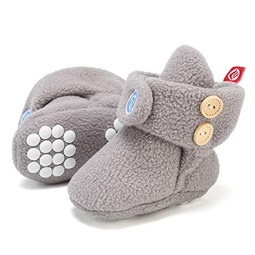 Newborn Baby Soft Fleece Booties Infant Boy Girl Cozy Socks with Non Skid Gripper Stay On Slippers Toddler First Walkers Winter Ankle Crib Shoes First Birthday Shower Gift Light Gray
