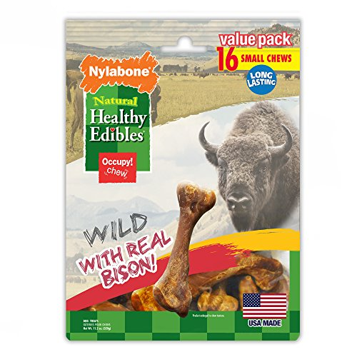 Edible Bone - Nylabone Healthy Edibles Natural Bison Dog Treats, Small, 16 Count