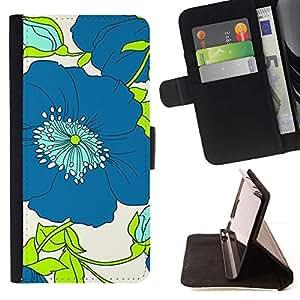 Dibujo Verde floral de la flor blanca- Modelo colorido cuero de la carpeta del tirón del caso cubierta piel Holster Funda protecció Para Apple (5.5 inches!!!) iPhone 6+ Plus / 6S+ Plus