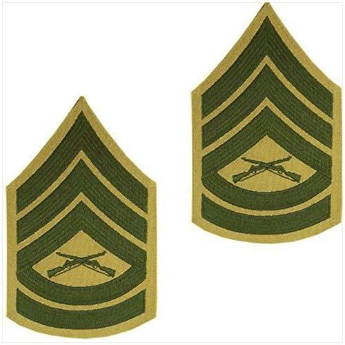 Vanguard Marine Corps Chevron: Gunnery Sergeant Green Embroidered ON Khaki, Male - Marine Corps Gunnery