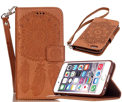welity iPhone 6/6S Case, Vintage Dream Catcher PU Synthetic Leather Wristlet Magnet Snap Wallet [Credit Card/Cash Slots] Kickstand Flip Case Cover for Apple iPhone 6/6S, Brown