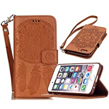 iPhone 6 / 6S Case, Welity Vintage Dream Catcher PU Synthetic Leather Wristlet Magnet Snap Wallet [Credit Card/Cash Slots] Kickstand Flip Case Cover for Apple iPhone 6/6S, Brown