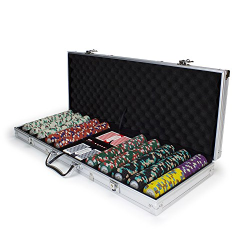 500ct Monaco Club Poker Chip Set in Aluminum Carry Case, 13.5-gram Heavyweight Clay Composite by Claysmith Gaming Executive Poker Set