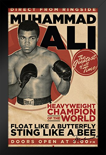 Pyramid America Muhammad Ali Heavyweight Champion of The World Framed Poster 14x20 inch