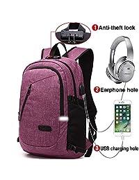 Mochila para portátil, mochila DOXUNGO antirrobo unisex con bloqueo Mochila portátil delgada con puerto de carga USB y puerto para audífonos para mujeres y hombres, para portátil y tableta Ipad de hasta 15.6 pulgadas (Versión mejorada - Púrpura)