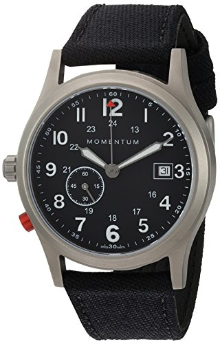 - Momentum Men's Quartz Titanium and Canvas Dress Watch, Color:Black (Model: 1M-SP60B6B)