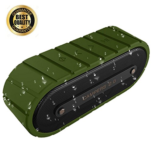 Wireless Bluetooth Speaker, Mrice Portable Outdoor Waterproof Bluetooth Speaker with Bass Driver Build-in Mic - Campers V2.0 (Green) (Wireless Bluetooth V2.0 Stereo)