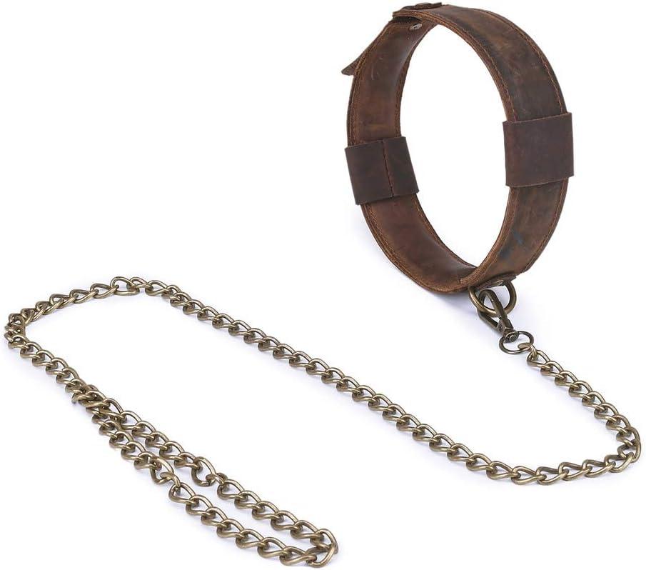 YGZ Correa Collar de Cuero con Suave Cuero Ajustable con Control de tracción de Cuerda Esclavo Reproduce Juguete for los Pares Backpack