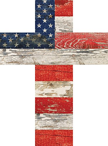 (American Flag Patriotic Red White and Blue Crackled Design 14 x 10 Wood Wall Art Cross)