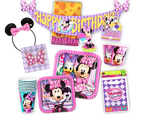 Disney Minnie Mouse Party Supplies Ultimate Bundle for 8 - Treat Bags, Decorations, Plates, Cups, Napkins, Minnie Mouse Ears and More!]()