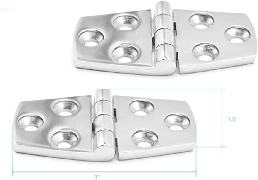 """Stainless-Steel 1-1//2/"""" /×3/"""" Round Side Door Strap Hinges A Pair Heavy Duty 316 PG Products"""