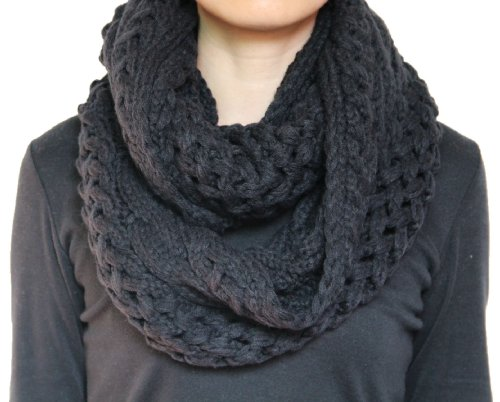 Seamaidmm Unisex Chunky Winter Twist Cable Knit Infinity/Circle/Snood/Scarf Black