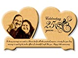 Incredible Gifts India Wooden 25th Wedding Anniversary Gift Wooden Engraved Photo in Heart