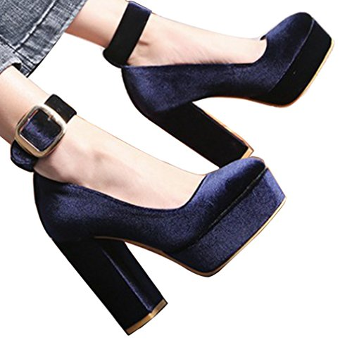 ENMAYER Damen Microfiber Pumps Absatz Plate PU Schuhe Blau