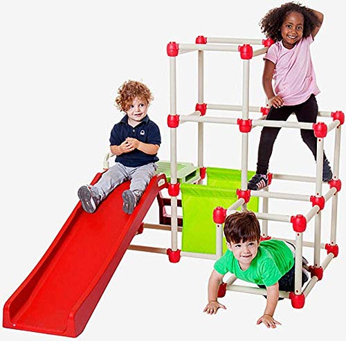Lil' Monkey Everest Climb N Slide Playground Playset, Red/Tan/Green