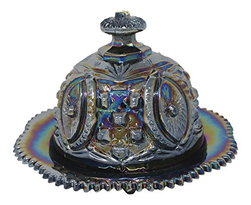 Round Dome Butter Dish Black Carnival Vintage Style Reproduction Glass Handmade Home Need
