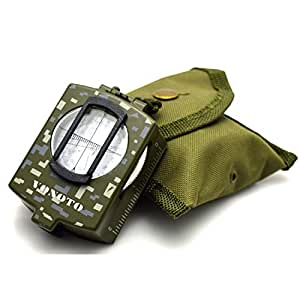 VONOTO Professional Multifunction Military Army Metal Sighting Compass High Accuracy Waterproof Compass - Metal American Military Compass Outdoor Equipment (Metal Camouflage with Luminous)