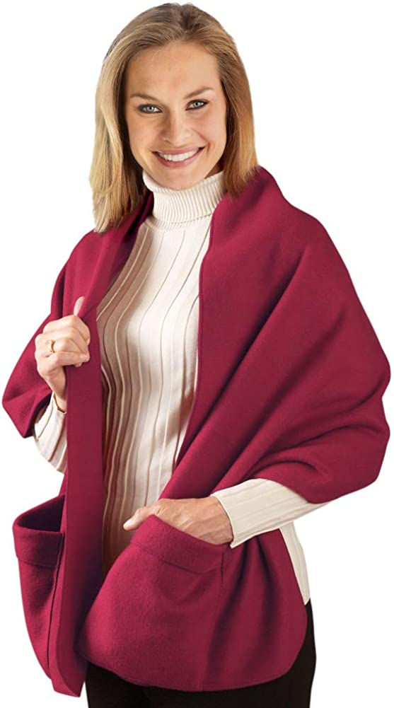 Cozy Fleece Wrap Shawl With Large Front Pockets Keeps Hands and Shoulders Warm During Cold Winter Season Burgundy