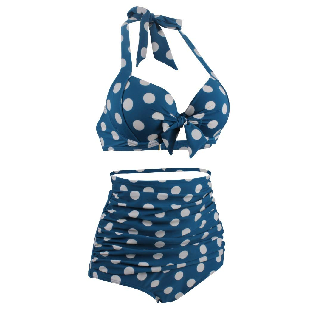 cb95a5a829 Sexy Bikini Beautiful Close-Fitting Swimsuits Covers Up for Women Blue Dots Bathing  Suit Halter Neck Floral High Waist Two-Pieces Sexy Bikini for Holiday ...
