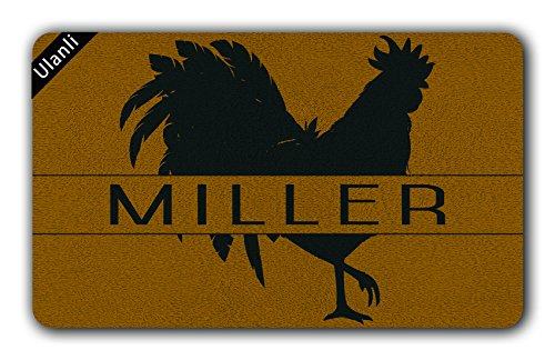 UlanLi Rooster Personalized Doormat Rooster Doormat Farm Doormat Welcome Doormat Entrance Floor Mat Indoor/Outdoor Rubber Non Slip Doormat For Patio Front Door 23.6 x 15.7 ()
