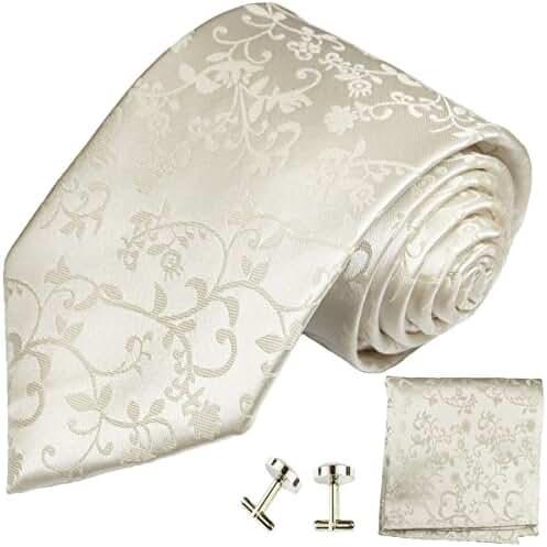 Extra Long Wedding Necktie Set , Ivory Vines, by Paul Malone, 100% Silk