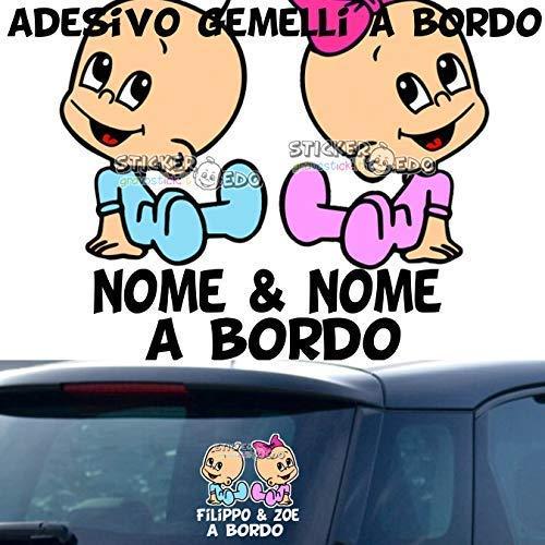 Adesivo auto nomi bambini bimbo a bordo beb/è baby on board Gemelli
