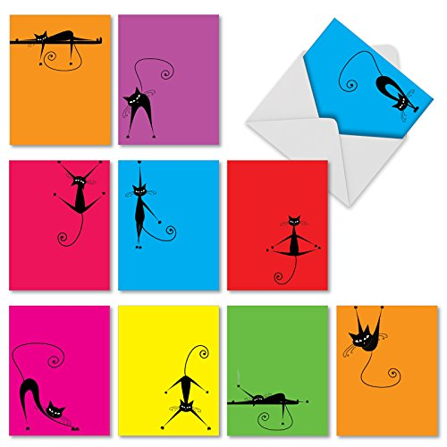 10 Note Cards with Envelopes 4 x 5.12 inch, Assorted 'Yocats' Blank Greeting Cards, Colorful All-Occasion Cards for Birthday, Congratulations, Halloween - Stationery Notecards M3962
