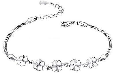 4755bfa7254a Demarkt Pulsera Amuleto Pulsera de Plata con Hierba Afortunada Accesorios  de Joyería para Mujer  Amazon.es  Joyería