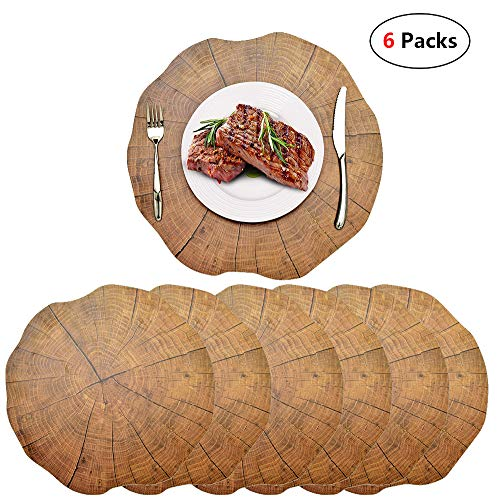 WIGOOD Round Wooden Table mat-Set of 6 Placemat for Dining Table Heat Resistant Washable Vinyl Kitchen Table Mats