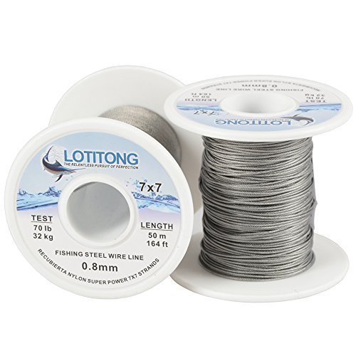 - LOTITONG 50 Meters 70 Pound Test Fishing Steel Wire line 7x7 Strands 0.8mm Trace Coating Wire Leader Coating Jigging Wire Lead Fish Jigging Line Fishing Wire Stainless Steel Leader Wire