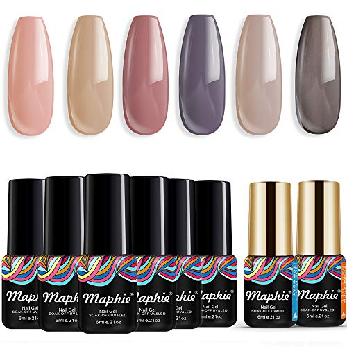 MAPHIE Gel Nail Polish Sets, Soak Off Nude Gel Nail Varnish Manicure, 6 Color Gel Nails+2PC Free Gift Base and Top Coat