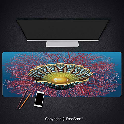 Desk Large Mat Mouse Pads Giant Majestic Unique Pearl Mussel and Ivy Coral Deep Down in The Sea Art Print Keyboard Pad for Laptop(W27.5xL11.8)