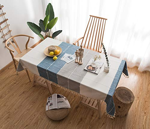 Honeystore Tablecloth Heavy Weight Cotton Linen Geometry Solid Tassel Edge Dust-Proof Table Cover for Kitchen Dinning Tabletop Decoration(Rectangle/Oblong, 55 x 86 Inch, White Grey Blue)