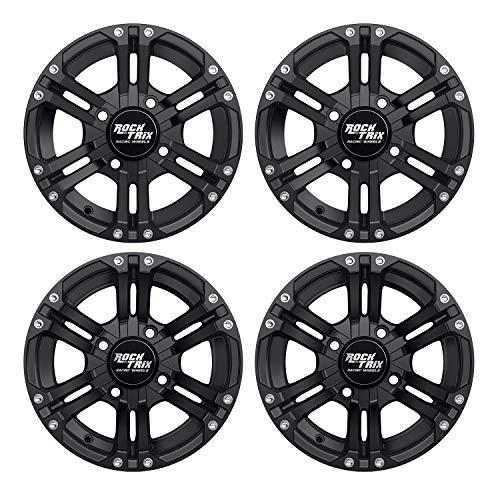 RockTrix RT101 12in ATV Wheels 4x110 Rims | 12x7 | 5+2 F and 2+5 R Offset | Compatible with SRA Honda Foreman 400 450 500, Rancher 350 400 420 Solid Rear Axle - Set of 4 (Atv Aluminum Rims)