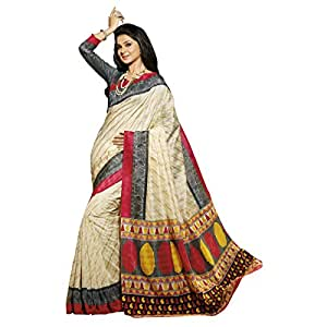 Shilp-Kala Bhagalpuri Silk Printed Cream Colored Sarees SKVF12552