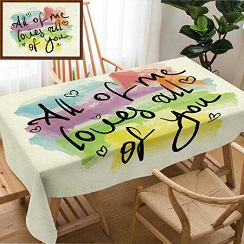 - Skocici Unique Custom Design Cotton and Linen Blend Tablecloth All of Me Loves All of You Romantic Love Quote Note As Greeting Card Postcard Poster StickerTablecovers for Rectangle Tables, 78
