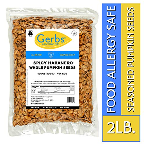 (Spicy Habanero Whole Pumpkin Seeds, 2 LBS by Gerbs - Top 14 Food Allergy Free & Non GMO - Vegan & Keto Safe - Pepitas grown USA)
