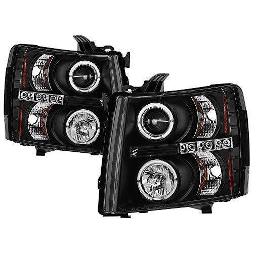 Led Body Kits Spyder - Spyder Auto 5009494 LED Halo Projector Headlights Black/Clear