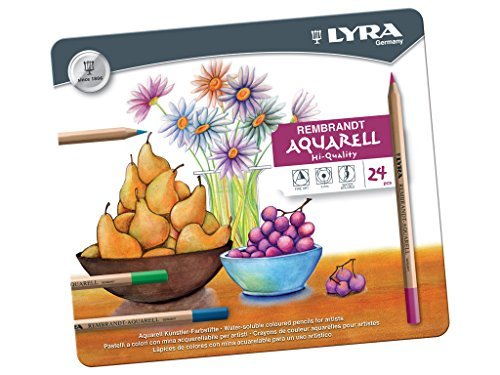 LYRA REMBRANDT AQUARELL WATER SOLUBLE COLOURING PENCILS GIFT TIN OF 24