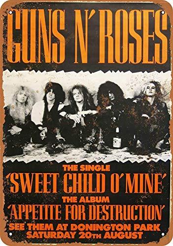 Roses Tin Sign - LoMall 8 x 12 Metal Sign - Guns 'N Roses at Donington Park - Vintage Wall Decor Art
