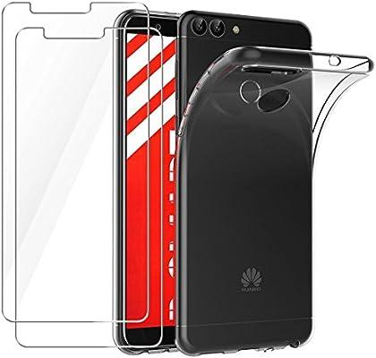 Leathlux Funda + 2X Cristal para Huawei P Smart, Carcasa P Smart ...