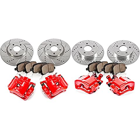 FRONT 295.8 mm + REAR 270 mm [4] Black Rotors + Red [4] Calipers + Quiet Low Dust [8] Ceramic Pads - Black 4 Piston Calipers