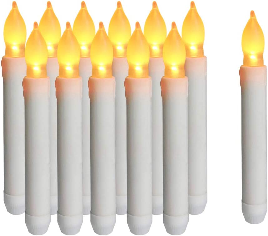 12Pack 12pcs Flameless LED Candles Lights Battery Operated Votive LED Taper Candles for Christmas Wedding Birthday Party Halloween Room Decorations,6.5 x 0.9 Inch,Batteries Not Included Warm