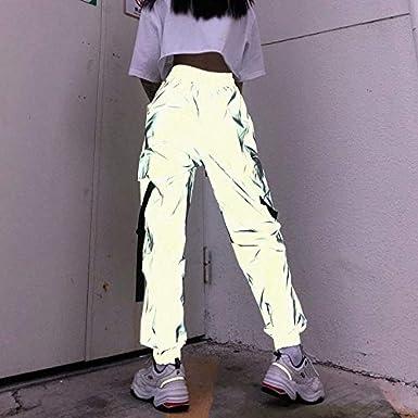 Pantalones Reflectantes para Mujer Calle de Ocio de Hip-Hop reflexivo Pantalones Harem Vigas Hombres y Mujeres Pantalones de Cintura Alta Trajes de Deportes Ropa de Hip-Hop Street