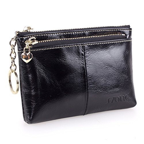 Price comparison product image S-ZONE Women's Genuine Leather Mini Coin Purse Card Holder with Key Ring (Black)