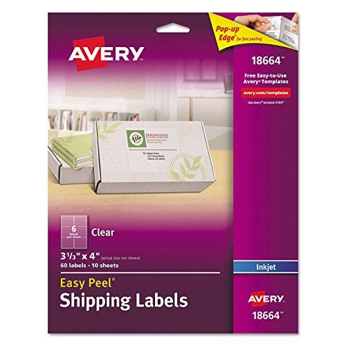 ear Easy Peel Shipping Labels, Inkjet, 3 1/3 x 4, 60/Pack ()