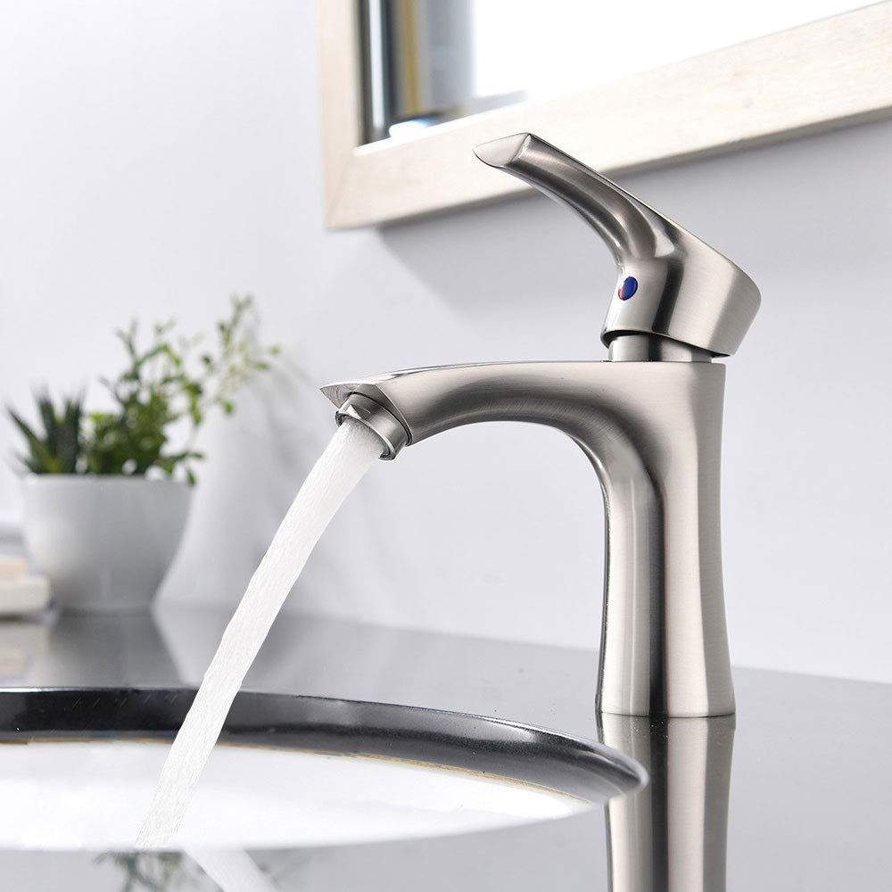 KINGO HOME Commercial Stainless Steel Lavatory Single Handle Single Hole Brushed Nickel Bathroom Faucets, Hot and Cold Water Vanity Sink Faucet by KINGO HOME (Image #3)